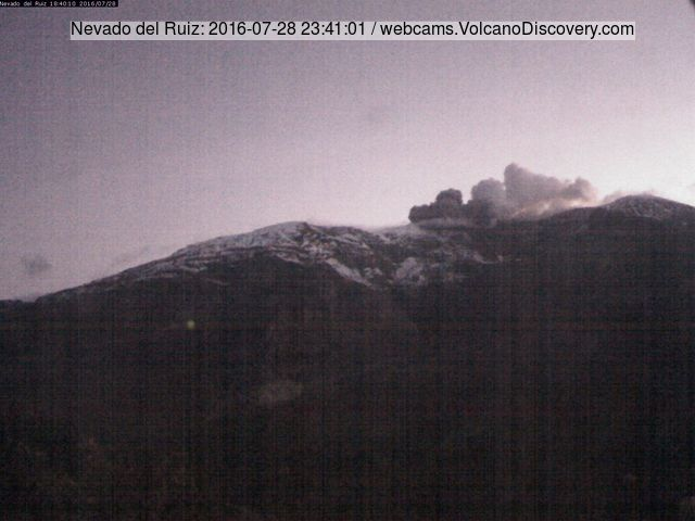 Small ash emission from Nevado del Ruiz yesterday evening (INGEOMINAS webcam)
