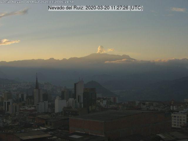 Nevado del Ruiz volcano this morning
