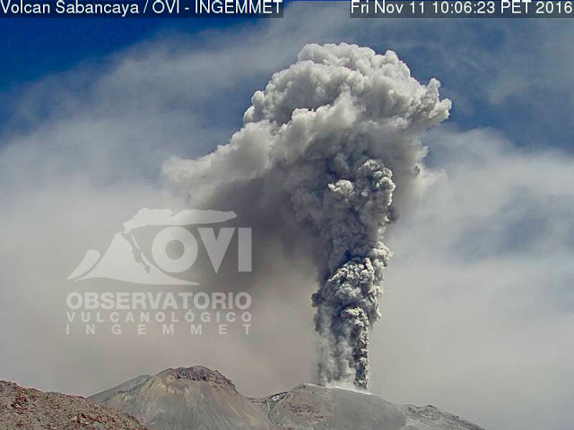 Eruption of Sabancaya volcano on 11 Nov 2016