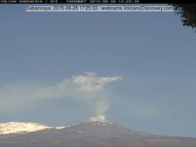 Steam, gas and ash plume from Sabancaya yesterday