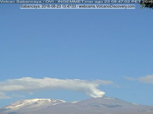 Steam and ash emission from Sabancaya volcano this morning