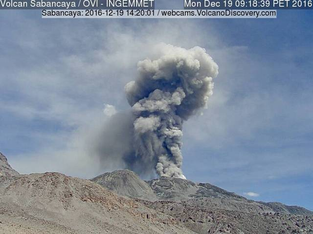 Ash eruption from Sabancaya this morning (INGEMMET webcam)