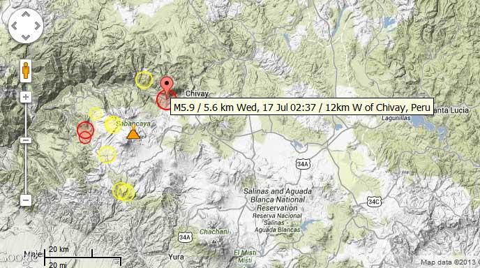 Recent earthquakes near Sabancaya volcano