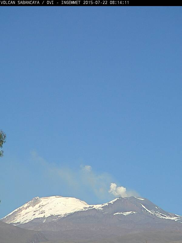 Gas plume with possibly light ash from Sabancaya volcano (Peru)