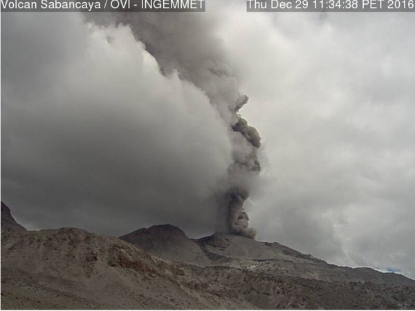 Ash plume from an explosion at Sabancaya volcano this afternoon