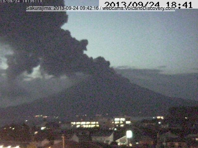 Eruption plume from Sakurajima this evening