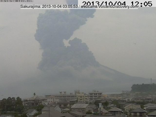 Explosion from Sakurajima this morning (MBC webcam, from East)
