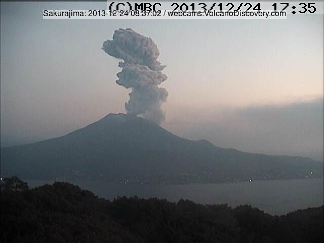 Ash plume from an eruption of Sakurajima this morning