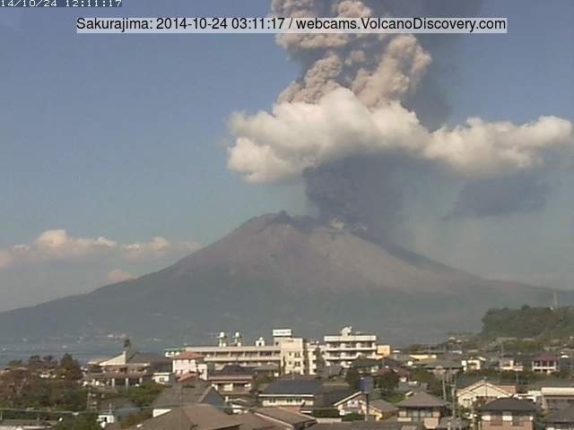 Vulcanian explosion at Sakurajima this morning (Tarumizu webcam)
