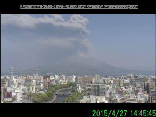 Ash plume from Sakurajima's explosion this morning