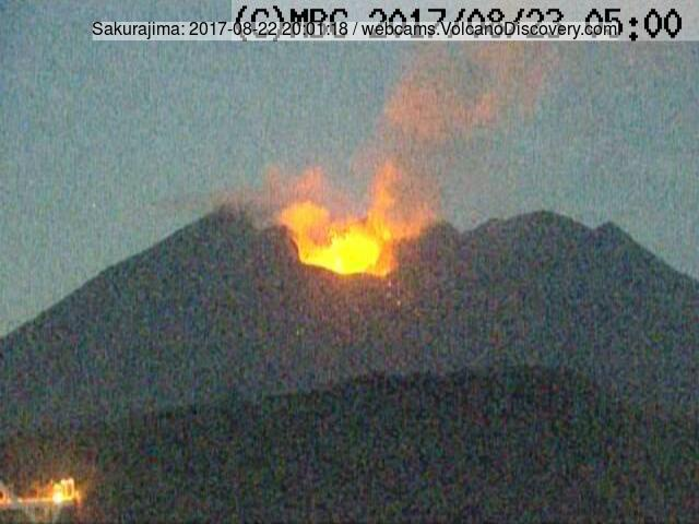 Strombolian activity at Sakurajim on 22 Aug 2017