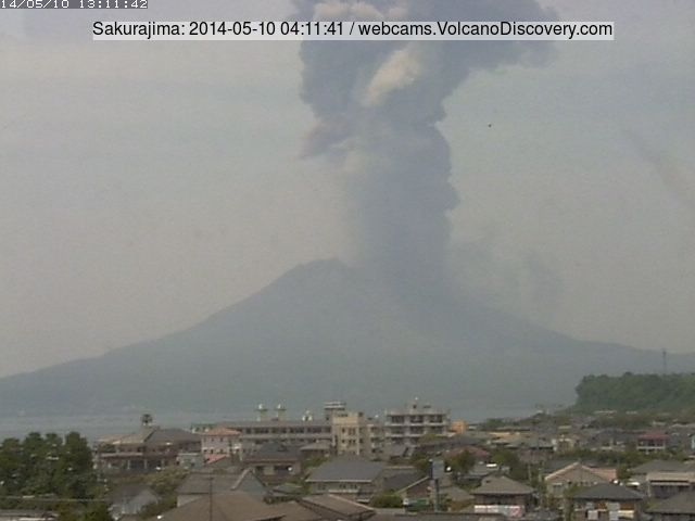 Ash plume from an explosion at Sakurajima early on 10 May