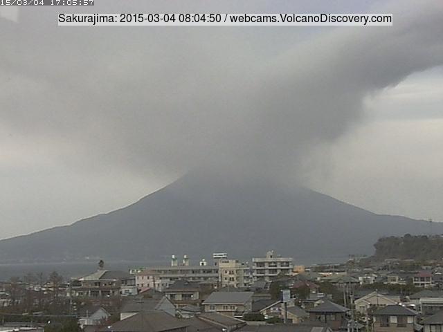 Ash plume from Sakurajima this morning drifting east