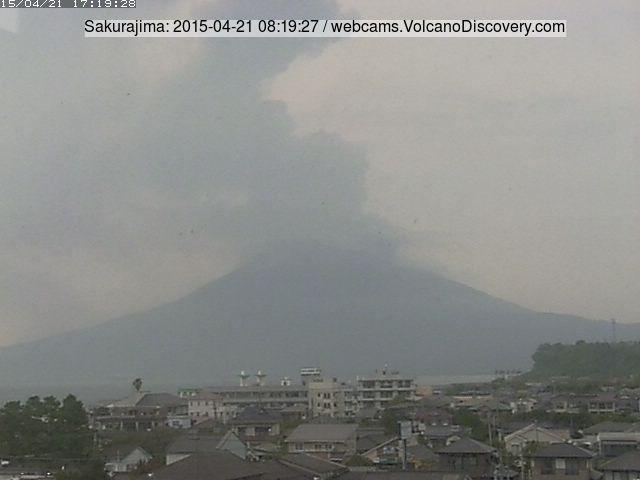 Ash plume from Sakurajima this morning