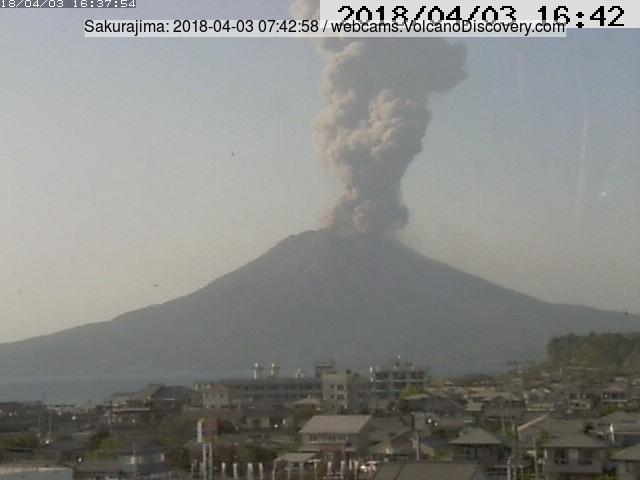 Ash column (about 3-4 km high) from an explosion of Sakurajima on Tuesday morning