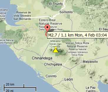 Map of the earthquake near San Cristobal this morning