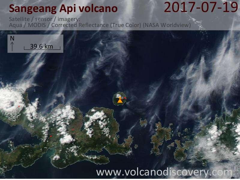 Satellite image of Sangeang Api volcano on 19 Jul 2017