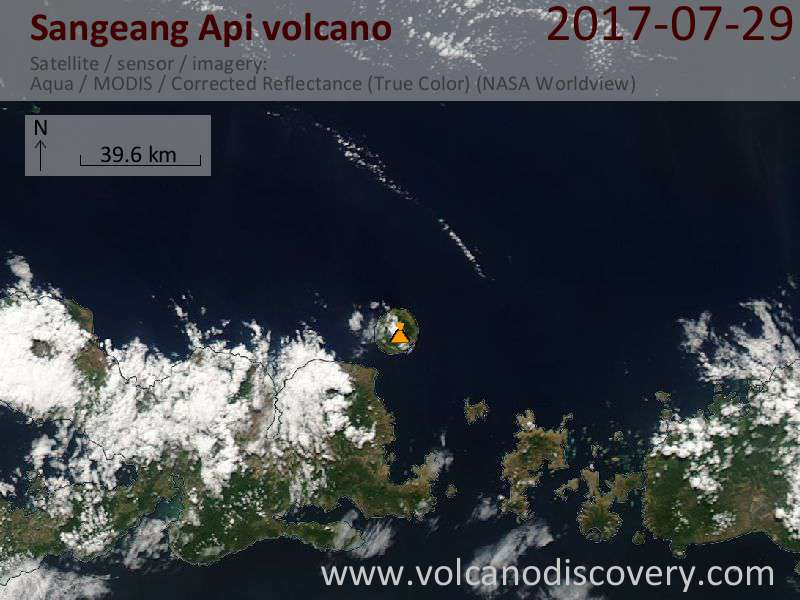 Satellite image of Sangeang Api volcano on 29 Jul 2017