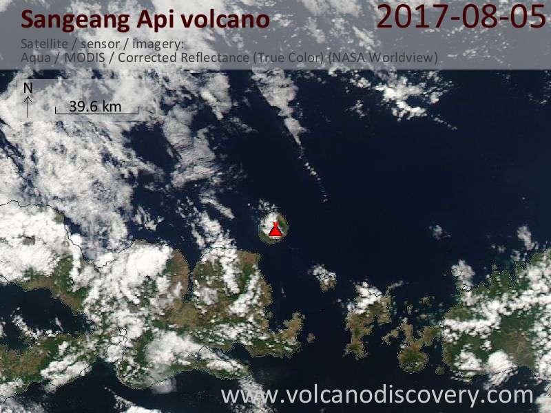 Satellite image of Sangeang Api volcano on  7 Aug 2017