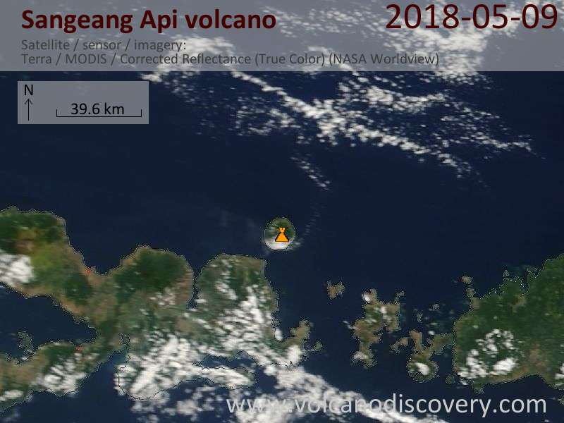 Satellite image of Sangeang Api volcano on  9 May 2018