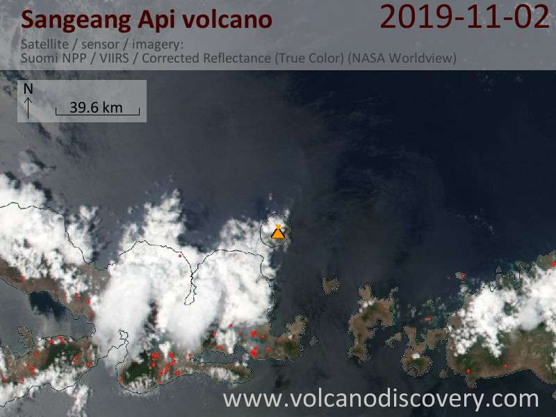 Satellite image of Sangeang Api volcano on  2 Nov 2019