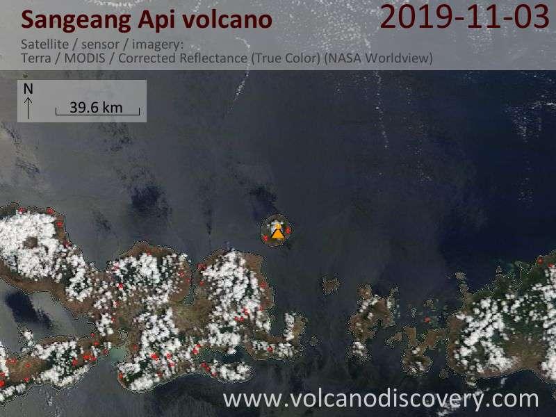 Satellite image of Sangeang Api volcano on  3 Nov 2019