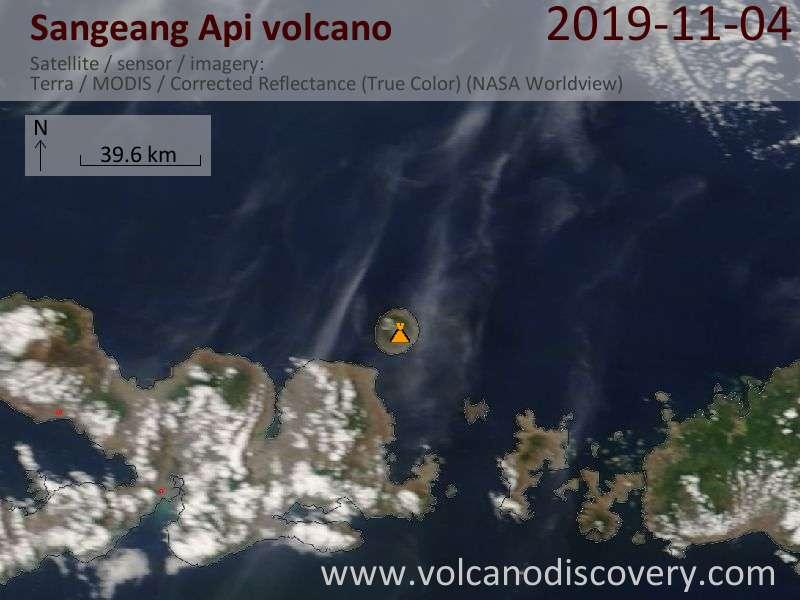 Satellite image of Sangeang Api volcano on  4 Nov 2019