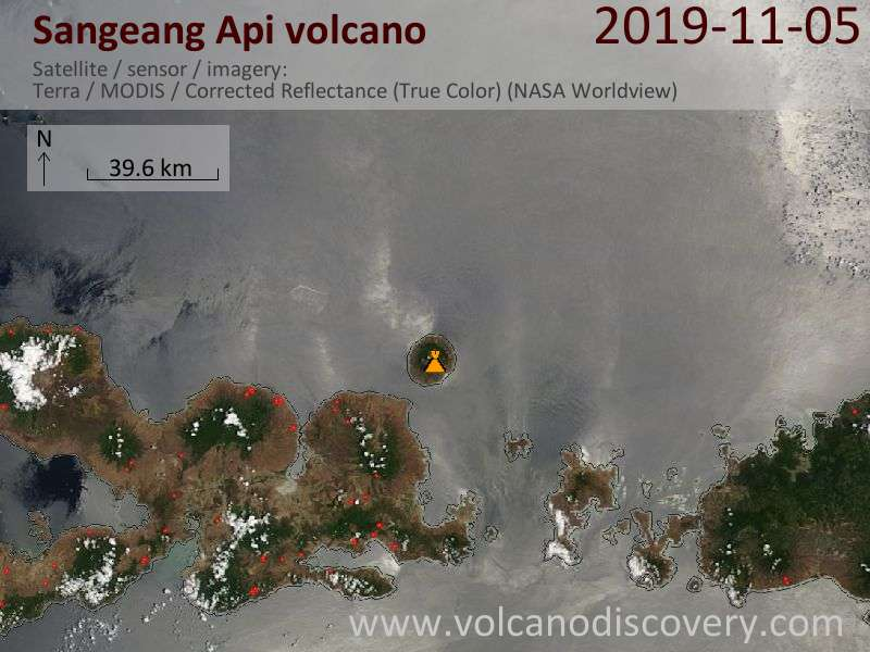 Satellite image of Sangeang Api volcano on  5 Nov 2019