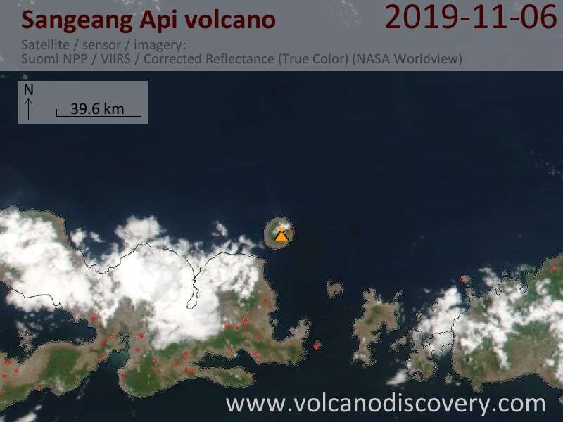 Satellite image of Sangeang Api volcano on  7 Nov 2019