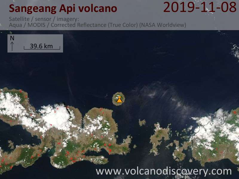 Satellite image of Sangeang Api volcano on  9 Nov 2019