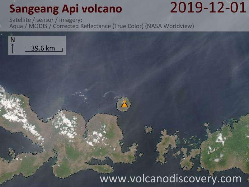 Satellite image of Sangeang Api volcano on  1 Dec 2019