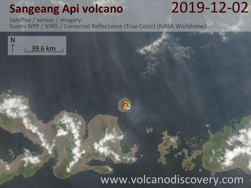 Satellite image of Sangeang Api volcano on  3 Dec 2019