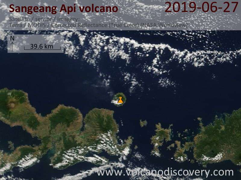 Satellitenbild des Sangeang Api Vulkans am 27 Jun 2019