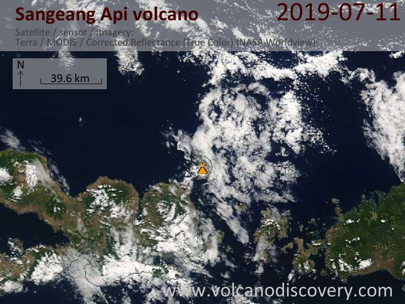 Satellite image of Sangeang Api volcano on 11 Jul 2019