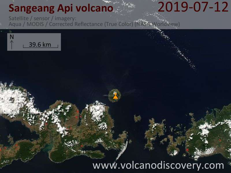 Satellite image of Sangeang Api volcano on 13 Jul 2019