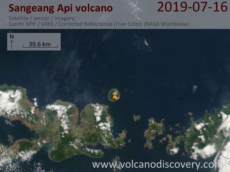 Satellitenbild des Sangeang Api Vulkans am 17 Jul 2019