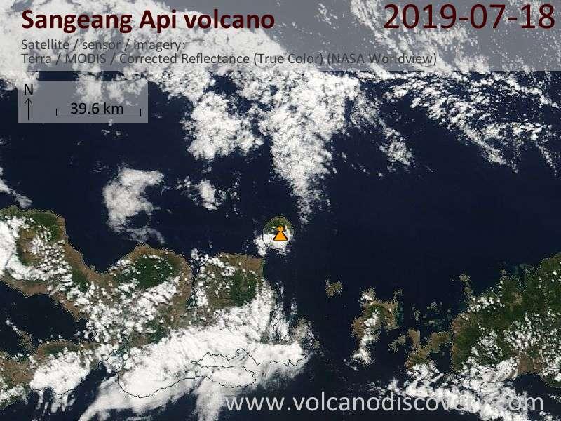 Satellite image of Sangeang Api volcano on 18 Jul 2019
