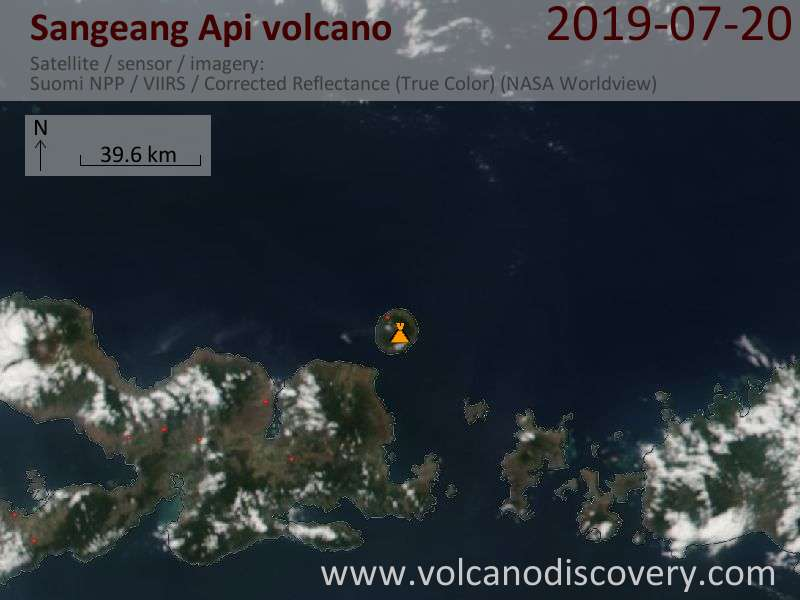 Satellite image of Sangeang Api volcano on 21 Jul 2019