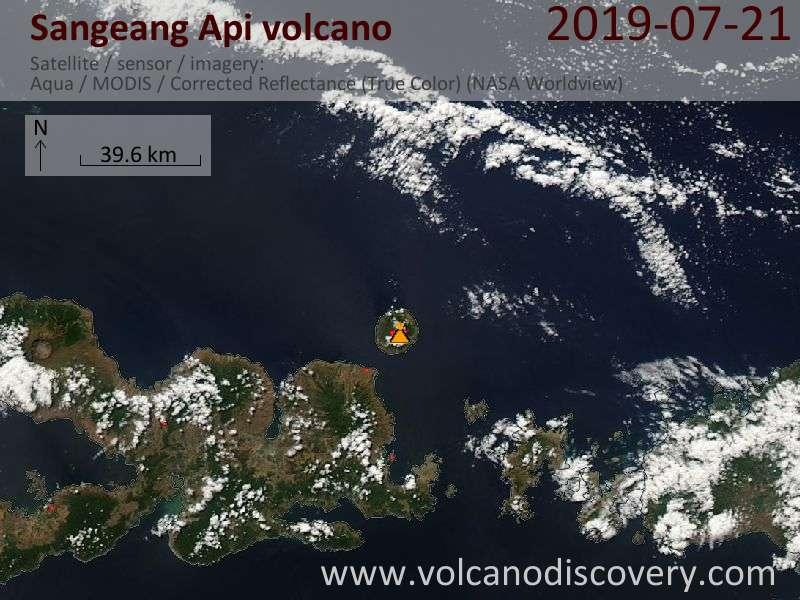 Satellite image of Sangeang Api volcano on 22 Jul 2019