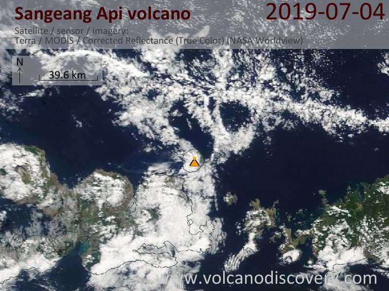 Satellite image of Sangeang Api volcano on  4 Jul 2019