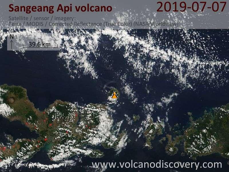 Satellite image of Sangeang Api volcano on  7 Jul 2019