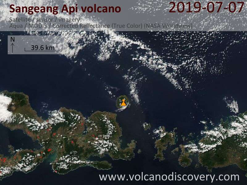 Satellite image of Sangeang Api volcano on  8 Jul 2019