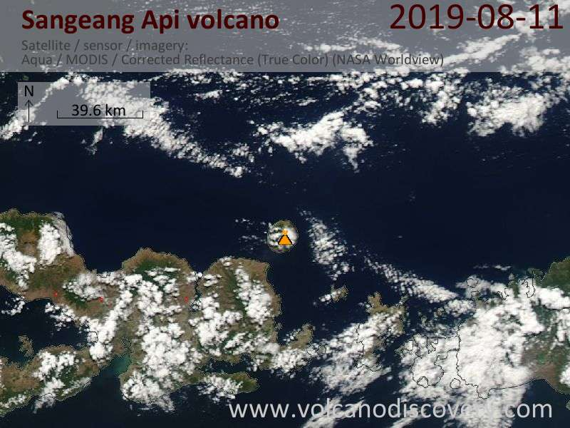 Satellite image of Sangeang Api volcano on 11 Aug 2019