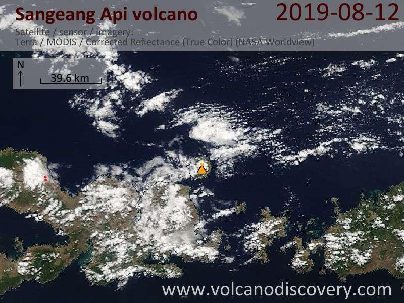 Satellite image of Sangeang Api volcano on 12 Aug 2019