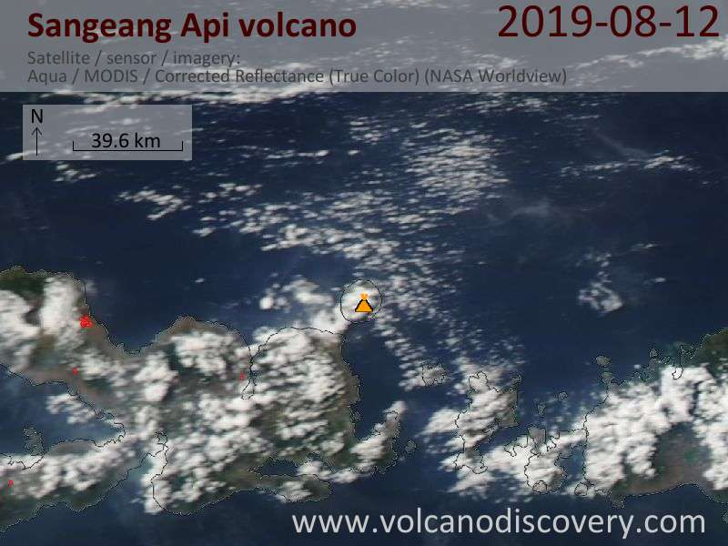 Satellite image of Sangeang Api volcano on 13 Aug 2019