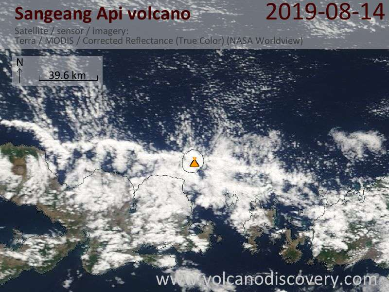 Satellite image of Sangeang Api volcano on 14 Aug 2019