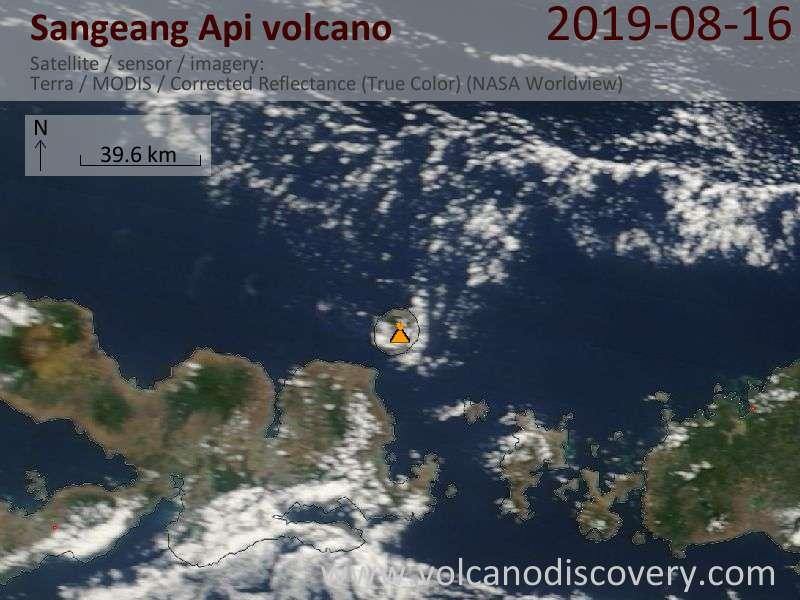 Satellite image of Sangeang Api volcano on 16 Aug 2019