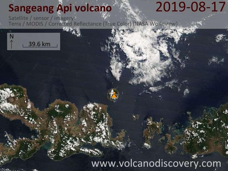 Satellite image of Sangeang Api volcano on 17 Aug 2019