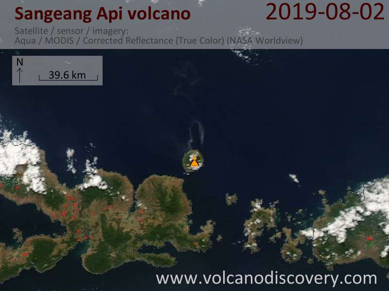Satellite image of Sangeang Api volcano on  2 Aug 2019