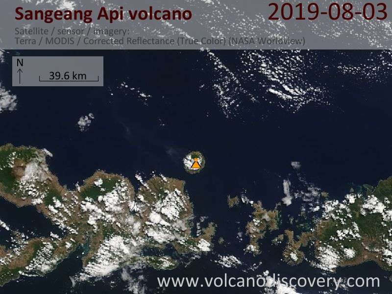 Satellite image of Sangeang Api volcano on  3 Aug 2019